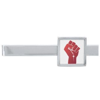 Raised Red Gradient Fist Silver Finish Tie Clip