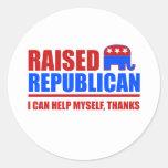 Raised Republican. I can help myself. Classic Round Sticker