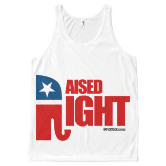 RAISED RIGHT - Politiclothes Humor -.png All-Over Print Tank Top