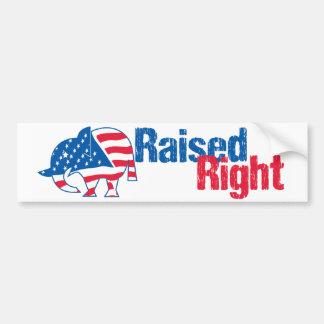 Raised Right - Republican Bumper Sticker