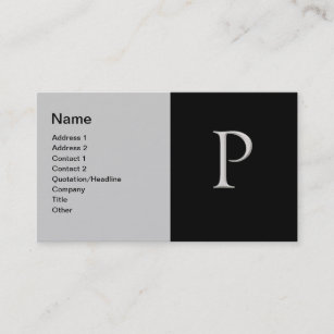 Raised letter business cards zazzle raised silver letter p business card colourmoves