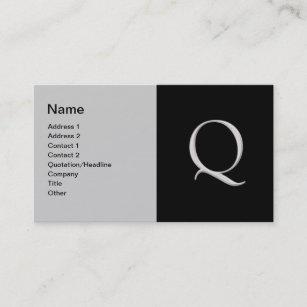 Raised letter business cards templates zazzle raised silver letter q business card colourmoves