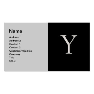 """Raised Silver Letter """"Y"""" Business Card"""