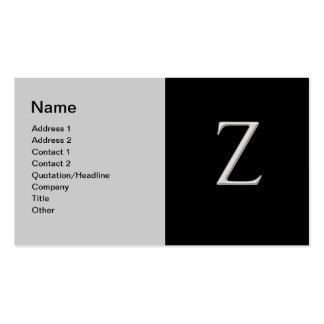 """Raised Silver Letter """"Z"""" Business Card"""