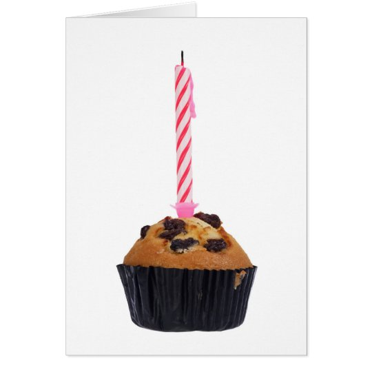 Raisin muffin with candle card