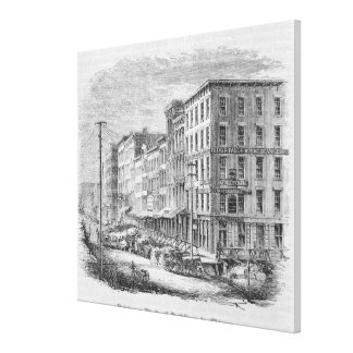 Raising a block of buildings in Chicago Canvas Print
