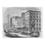 Raising a block of buildings in Chicago Postcard