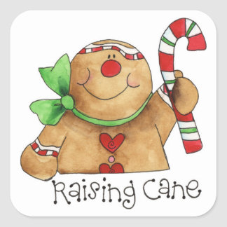 Raising Cane Gingerbread Man Sticker Label