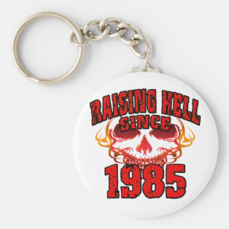 Raising Hell since 1985.png Basic Round Button Keychain