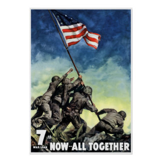 Raising The Flag On Iwo Jima -- Border Poster
