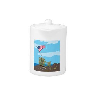 Raising the Flag on Iwo Jima (Simple History) Teapot