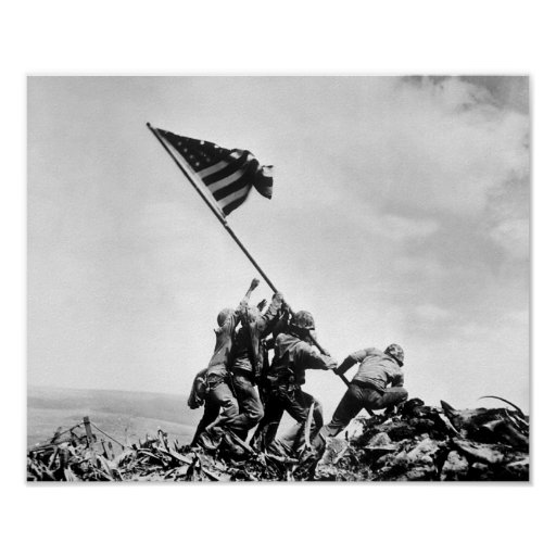 Raising The Flag On Iwo Jima -- WW2 Poster