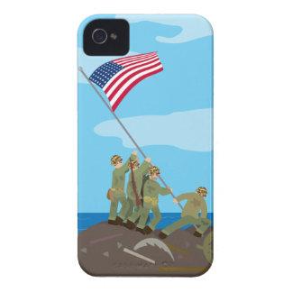 Raising the flag on Iwo Jima WWII iPhone 4 Case-Mate Case