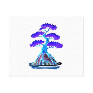 raíz azul del árbol de los bonsais sobre la roca g impresión en lienzo estirada