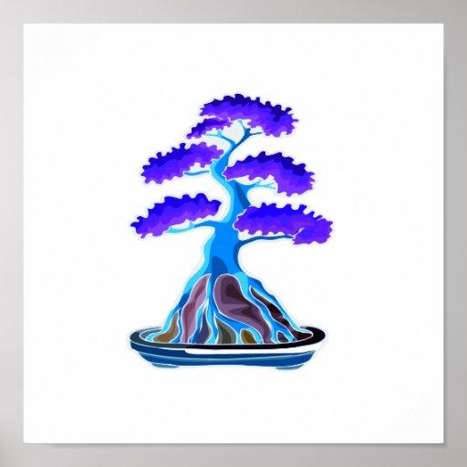 raíz azul del árbol de los bonsais sobre la roca g póster