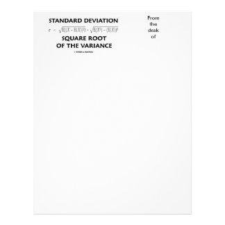 Raíz cuadrada de la desviación estándar de la plantillas de membrete