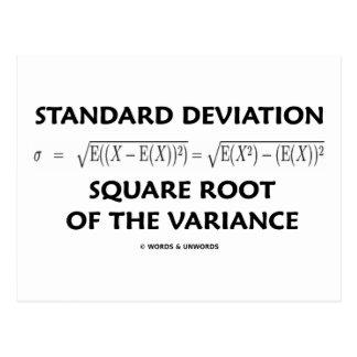 Raíz cuadrada de la desviación estándar de la vari postal