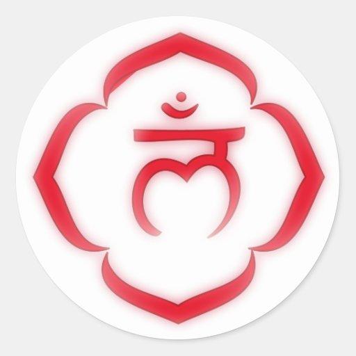 "Raíz ""estarcida"" Chakra - Muladhara Pegatinas Redondas"