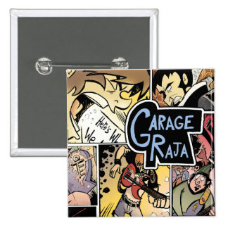 Raja del garaje:  Botón del collage Pin Cuadrado