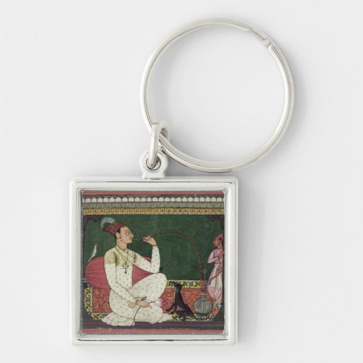 Raja Medini Pal, inscribed on the reverse in Takar Silver-Colored Square Keychain