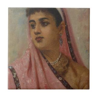 Raja_Ravi_Varma, _The_Parsee_Lady Azulejo Cuadrado Pequeño