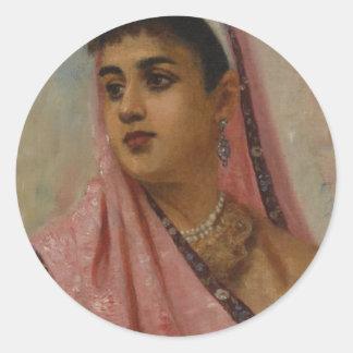 Raja_Ravi_Varma, _The_Parsee_Lady Pegatina Redonda