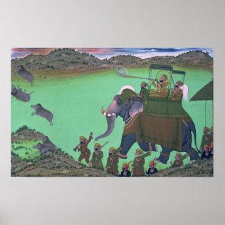 Raja Sarup Singh de Udaipur, en una caza del verra Póster