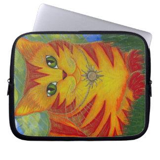 Rajah Golden Gold Sun Cat Art Laptop Sleeve