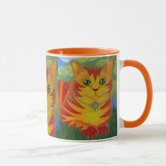 Rajah Golden Gold Sun Cat Fantasy Art Mug