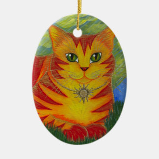 Rajah Golden Gold Sun Cat Fantasy Art Ornament