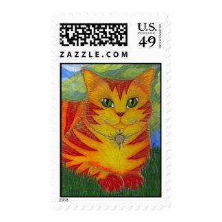Rajah Golden Gold Sun Cat Fantasy Art Postage