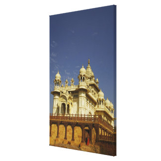 Rajasthan, India A woman standing at and accient Stretched Canvas Print