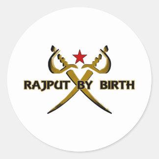 Rajput By Birth Red Star Round Stickers
