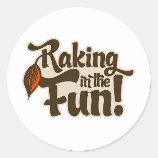 Raking in the Fun Round Stickers