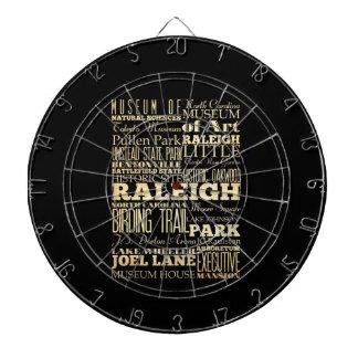 Raleigh City of North Carolina State Typography Dartboard With Darts