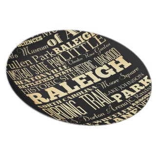 Raleigh City of North Carolina State Typography Dinner Plate