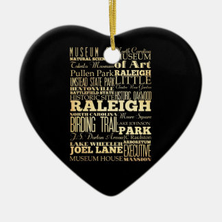 Raleigh City of North Carolina State Typography Double-Sided Heart Ceramic Christmas Ornament