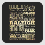 Raleigh City of North Carolina State Typography Square Sticker