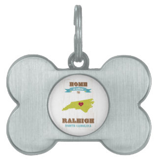 Raleigh, mapa de Carolina del Norte - casero está  Placas De Mascota