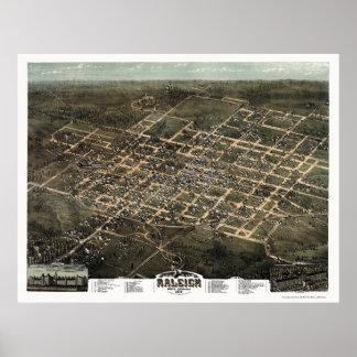 Raleigh, mapa panorámico del NC - 1872 Impresiones