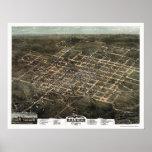 Raleigh, mapa panorámico del NC - 1872 Póster