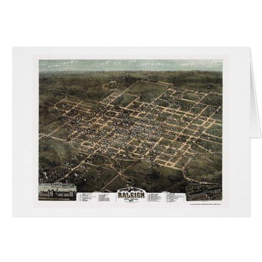 Raleigh, mapa panorámico del NC - 1872 Tarjeta De Felicitación