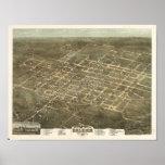 Raleigh N. Carolina 1872 Antique Panoramic Map Posters