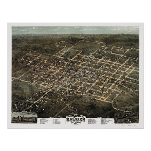 Raleigh, NC Panoramic Map - 1872 Poster