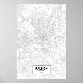 Raleigh, North Carolina (black on white) Poster