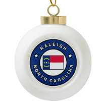Raleigh North Carolina Ceramic Ball Christmas Ornament