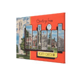 Raleigh, North Carolina - Large Letter Scenes 2 Canvas Print