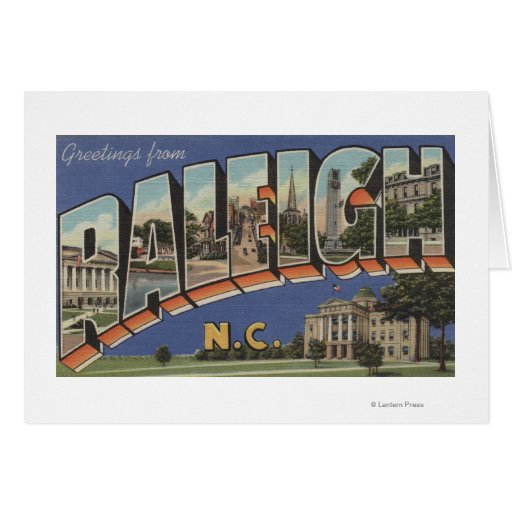 Raleigh, North Carolina - Large Letter Scenes 2 Greeting Cards