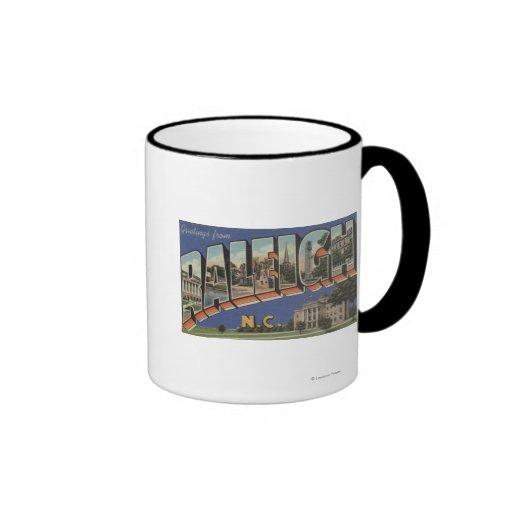 Raleigh, North Carolina - Large Letter Scenes 2 Ringer Coffee Mug