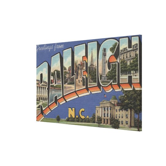 Raleigh, North Carolina - Large Letter Scenes Canvas Print